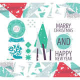 Set with a Christmas theme Happy new year Royalty Free Stock Photography
