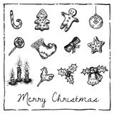 Set of Christmas-themed elements Royalty Free Stock Photo
