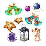 Set of Christmas things. Angel, balls, bells, lamp, candle, cookies. Watercolor Xmas decoration. Set of Christmas things. Angel, balls, bells, lamp, candle stock illustration