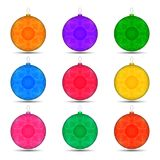 Set of Christmas toys balls in different colors Royalty Free Stock Photography