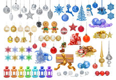 Set of Christmas toys. Big set of Christmas New Year baubles, silver gold blue balls snowflakes bells reindeer snowman gingerbread star tip candle holder stock illustration