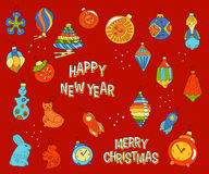 Set of Christmas toys in doodle style Royalty Free Stock Photos