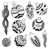 Set of Christmas toys. Hand-drawn decorative elements in vector. Black and white Royalty Free Stock Photo