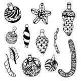 Set of Christmas toys. Hand-drawn decorative elements in vector. Fancy Christmas trees, balls, stars. Pattern for coloring book. Black and white pattern. Sketch Royalty Free Stock Images