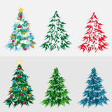 Set Christmas tree Stock Image