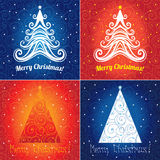 Set of Christmas tree background designs. Set of Christmas tree blue and red  background designs Royalty Free Stock Image