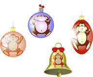 Set of Christmas tree balls and a bell with a Stock Images