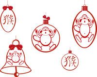Set of Christmas tree balls and a bell with a monkey and hieroglyph. EPS10 vector illustration.  Royalty Free Stock Photo