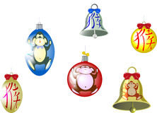Set of Christmas tree balls and a bell with a Stock Photography
