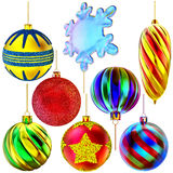 Set of Christmas-tree balls and snowflake Stock Photo