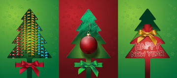 Set Christmas tree with bow ribbons bag toy Royalty Free Stock Photos