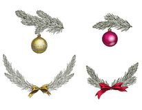Set of Christmas tree branches with decoration. Symbol of Christmas and New Year isolated on white background. Vector illustration.  Stock Photos