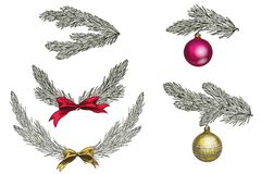Set of Christmas tree branches with decoration. Symbol of Christmas and New Year isolated on white background. Vector illustration.  Stock Images