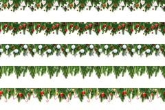 Set of Christmas tree branches on white background as a border royalty free stock photography