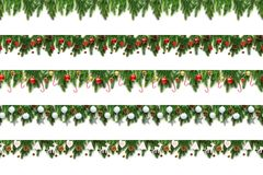 Set of Christmas tree branches on white background as a border. Or template for christmas card stock photos