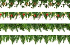 Set of Christmas tree branches on white background as a border. Or template for christmas card stock photo