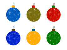 Set of Christmas Tree Colored Balls Stock Photos