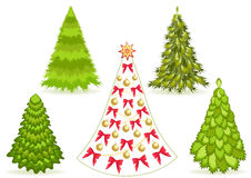 Set Christmas tree with decoration. Stock Photos