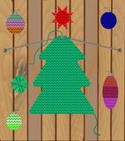 Set of Christmas tree and decoration of knitted texture on wooden background. vector illustration