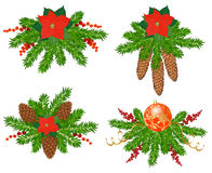 Set of Christmas tree decorations. Set for a Christmas decoration of fir branches, poinsettia, fir and pine cones Stock Images