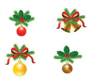 Set of Christmas tree decorations. With ribbons and balls with bells Stock Image