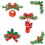 Set of Christmas tree decorations. With ribbons and balls with cones Royalty Free Stock Photo