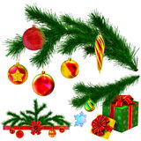 Set of Christmas tree fir branches. Decorated of christmas balls, bow and gifts on white background Stock Photo