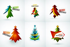 Set of Christmas tree geometric designs Royalty Free Stock Photography