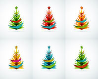 Set of Christmas tree geometric designs Royalty Free Stock Photo