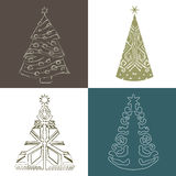 Set Christmas tree hand draw Royalty Free Stock Photos
