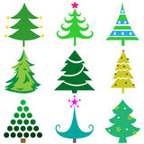 Set of Christmas tree icons great for any use, Vector EPS10. Royalty Free Stock Photography