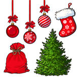 Set of Christmas tree, red decoration balls, boot and sack Stock Image