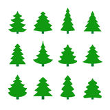 Set of christmas tree silhouettes. Royalty Free Stock Image