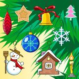 Set of 9 Christmas tree toys stickers Stock Photos