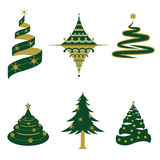 Set of Christmas Tree Vectors and Icons Stock Images