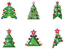 Set of Christmas trees. Vector illustration of set of Christmas trees in different styles isolated on white Stock Photos