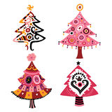 Set of Christmas Trees. Decorative trees for Christmas, with cute colors and stylized shapes Royalty Free Stock Images
