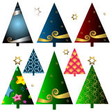 Set christmas trees Stock Photos