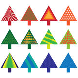 Set of christmas trees Stock Photos