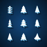 Set of Christmas trees 3d icons. Royalty Free Stock Photo