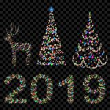 Set of Christmas trees, digits 2019 and deer. Made of defocused multicolored fairy lights with bokeh effects Royalty Free Stock Image