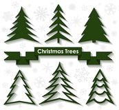 Set of Christmas trees. Flat design. Royalty Free Stock Photos