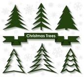 Set of Christmas trees. Flat design. Royalty Free Stock Photos