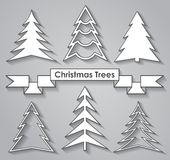 Set of Christmas trees. Flat design. Royalty Free Stock Image