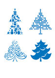 Set of christmas trees Royalty Free Stock Photo