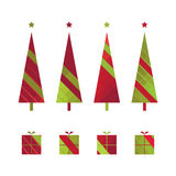 Set of christmas trees and gift boxes Royalty Free Stock Photo