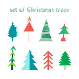 Set of Christmas trees Stock Photo