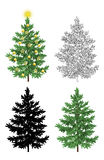 Set of Christmas Trees. With Holiday Decorations, Gold Stars and Balls, Green Naturalistic and Black Outlines Contours and Silhouettes Isolated On White Eps10 vector illustration