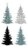 Set of Christmas Trees. With Holiday Decorations, Gold Stars and Colorful Balls, Green Naturalistic and Black Outlines Contours and Silhouette Isolated On royalty free illustration