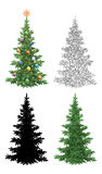Set of Christmas Trees Royalty Free Stock Photos